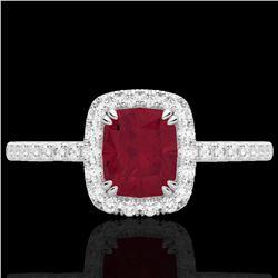 1.25 CTW Ruby & Micro Pave VS/SI Diamond Halo Ring 10K White Gold - REF-34M2H - 22908
