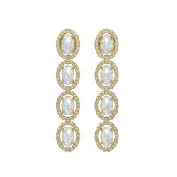 4.05 CTW Opal & Diamond Halo Earrings 10K Yellow Gold - REF-112A8X - 40519