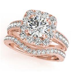 1.55 CTW Certified VS/SI Diamond 2Pc Wedding Set Solitaire Halo 14K Rose Gold - REF-234K8W - 30979