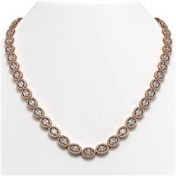 34.96 CTW Oval Diamond Designer Necklace 18K Rose Gold - REF-6441F8N - 42705