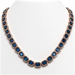 56.69 CTW London Topaz & Diamond Halo Necklace 10K Rose Gold - REF-700X8T - 41367