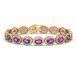19.82 CTW Amethyst & Diamond Halo Bracelet 10K Yellow Gold - REF-249M5H - 40642