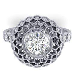 1.5 CTW Certified VS/SI Diamond Art Deco Ring 14K White Gold - REF-382X4T - 30552