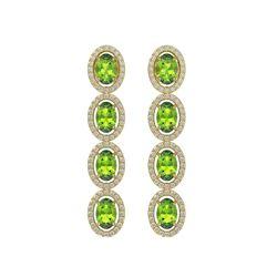 5.88 CTW Peridot & Diamond Halo Earrings 10K Yellow Gold - REF-112Y5K - 40531