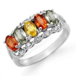 2.0 CTW Multi-Sapphire & Diamond Ring 18K White Gold - REF-50X8T - 13756