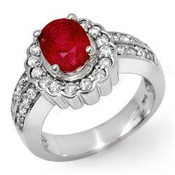 2.25 CTW Ruby & Diamond Ring 14K White Gold - REF-90T9M - 11919