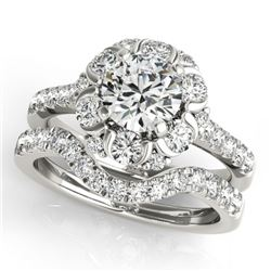 2.22 CTW Certified VS/SI Diamond 2Pc Wedding Set Solitaire Halo 14K White Gold - REF-268N2Y - 31067