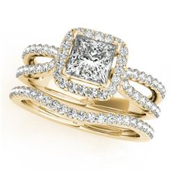 1.71 CTW Certified VS/SI Princess Diamond 2Pc Set Solitaire Halo 14K Yellow Gold - REF-446H5A - 3134