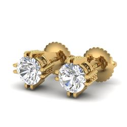 1.07 CTW VS/SI Diamond Solitaire Art Deco Stud Earrings 18K Yellow Gold - REF-200X2T - 36913