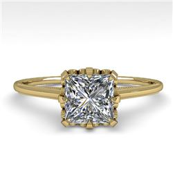 1.0 CTW VS/SI Princess Diamond Solitaire Engagement Ring size 7 18K Yellow Gold - REF-322K5W - 35752