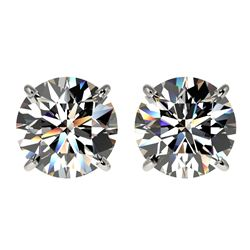 3 CTW Certified H-SI/I Quality Diamond Solitaire Stud Earrings 10K White Gold - REF-645A2X - 33120