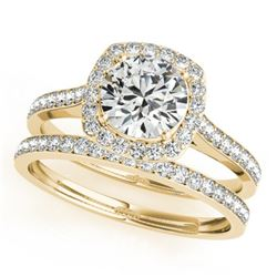 1.67 CTW Certified VS/SI Diamond 2Pc Wedding Set Solitaire Halo 14K Yellow Gold - REF-387A3X - 31216