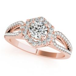 1.43 CTW Certified VS/SI Diamond Solitaire Halo Ring 18K Rose Gold - REF-379N8Y - 26761