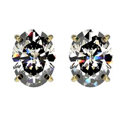 2.50 CTW Certified VS/SI Quality Oval Diamond Stud Earrings 10K Yellow Gold - REF-840M2H - 33113