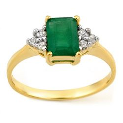 1.12 CTW Emerald & Diamond Ring 10K Yellow Gold - REF-17H3A - 11340