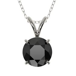 1 CTW Fancy Black VS Diamond Solitaire Necklace 10K White Gold - REF-26H3A - 33185