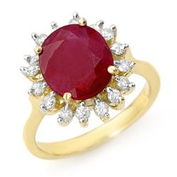3.68 CTW Ruby & Diamond Ring 10K Yellow Gold - REF-70X2T - 12709