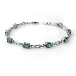 4.11 CTW Emerald & Diamond Bracelet 14K White Gold - REF-66N4Y - 14181