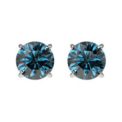 1.08 CTW Certified Intense Blue SI Diamond Solitaire Stud Earrings 10K White Gold - REF-87K2W - 3659