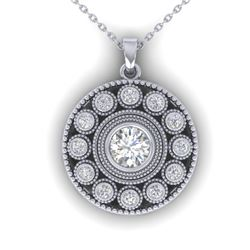 0.91 CTW Certified VS/SI Diamond Art Deco Necklace 14K White Gold - REF-121X3T - 30468