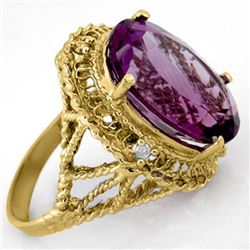13.03 CTW Amethyst & Diamond Ring 10K Yellow Gold - REF-45M5H - 14131