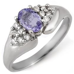 0.90 CTW Tanzanite & Diamond Ring 14K White Gold - REF-38N9Y - 10668