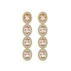 6.09 CTW Morganite & Diamond Halo Earrings 10K Yellow Gold - REF-130T8M - 40516