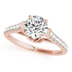 1 CTW Certified VS/SI Diamond Solitaire Wedding Ring 18K Rose Gold - REF-128A5X - 27568