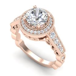 1.91 CTW VS/SI Diamond Solitaire Art Deco Ring 18K Rose Gold - REF-543N6Y - 36975