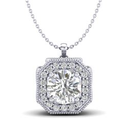 1.54 CTW VS/SI Diamond Solitaire Art Deco Necklace 18K White Gold - REF-409K3W - 37325