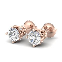 1.26 CTW VS/SI Diamond Solitaire Art Deco Stud Earrings 18K Rose Gold - REF-209N3Y - 37020
