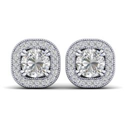 1.35 CTW Certified VS/SI Diamond Stud Micro Halo Earrings 14K White Gold - REF-177T3M - 30432