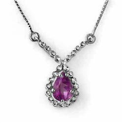 0.60 CTW Amethyst Necklace 14K White Gold - REF-23F6N - 12890