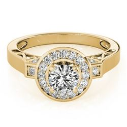 1.25 CTW Certified VS/SI Diamond Solitaire Halo Ring 18K Yellow Gold - REF-220A2X - 27083