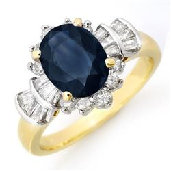 2.13 CTW Blue Sapphire & Diamond Ring 14K Yellow Gold - REF-80F2N - 13326