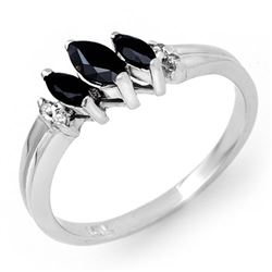 0.29 CTW Blue Sapphire & Diamond Ring 18K White Gold - REF-32F9N - 13526