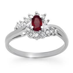 0.45 CTW Ruby & Diamond Ring 14K White Gold - REF-29X8T - 12415