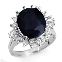 8.99 CTW Blue Sapphire & Diamond Ring 18K White Gold - REF-124T2M - 12918