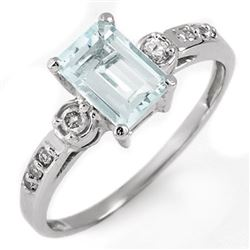 1.20 CTW Aquamarine & Diamond Ring 10K White Gold - REF-24Y2K - 11339