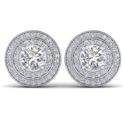 1.45 CTW I-SI Diamond Solitaire Art Deco Halo Stud Earrings 14K White Gold - REF-126M2H - 30366