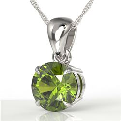 2 CTW Green Tourmaline Designer Solitaire Necklace 18K White Gold - REF-33X3T - 22026