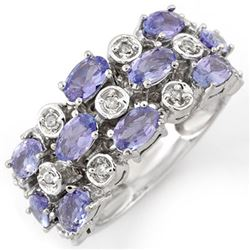 2.20 CTW Tanzanite & Diamond Ring 18K White Gold - REF-90X8T - 11248