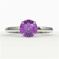 2 CTW Amethyst Designer Inspired Solitaire Engagement Ring 18K White Gold - REF-33K6W - 22209