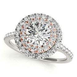 1.25 CTW Certified VS/SI Diamond Solitaire Halo Ring 18K White & Rose Gold - REF-214H9A - 26223