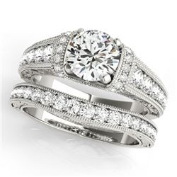 1.61 CTW Certified VS/SI Diamond Solitaire 2Pc Wedding Set Antique 14K White Gold - REF-238K2W - 315