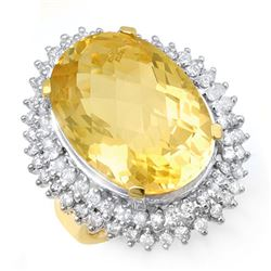 37.75 CTW Citrine & Diamond Ring 14K Yellow Gold - REF-240M8H - 13031