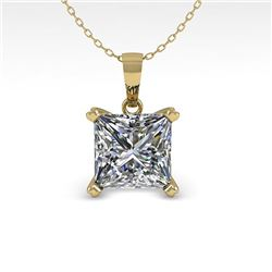 0.50 CTW VS/SI Princess Diamond Designer Necklace 18K Yellow Gold - REF-97W8F - 32347