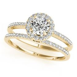 0.85 CTW Certified VS/SI Diamond 2Pc Wedding Set Solitaire Halo 14K Yellow Gold - REF-116T5M - 30797