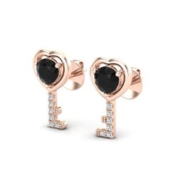 0.80 CTW Black VS/SI Diamond Micro Key To The Heart Earrings 14K Rose Gold - REF-32T5M - 22670