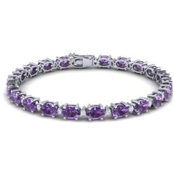 25.8 CTW Amethyst & VS/SI Certified Diamond Eternity Bracelet 10K White Gold - REF-122Y9K - 29441